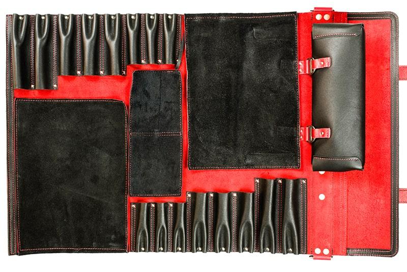 Jende Black & Red Knife Roll, Leather Chef Knife Bag