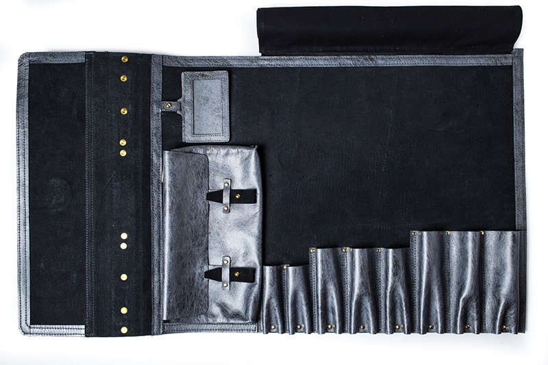 Sweet Burden Knife Roll, Silk Infused Leather Chef Bag